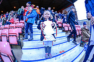 A Little Girl from Woking proudly shows her home made FA Cupduring the The FA Cup 2nd round match between Swindon Town and Woking at the County Ground, Swindon, England on 2 December 2018.