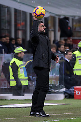 December 9, 2018 - Milan, Milan, Italy - head coach of AC Milan Gennaro Gattuso during the serie A match between AC Milan and Torino FC at Stadio Giuseppe Meazza on December 09, 2018 in Milan, Italy. (Credit Image: © Giuseppe Cottini/NurPhoto via ZUMA Press)