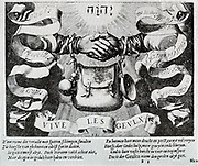 Illustration from 'Valerius Gedenckelanck Netherland' on the League of Nobels.  The hands are a sign of the covenant, and are tied together by the straps of the bedeltasch and irradiated by divine light. the League of nobles who bound themselves to maintain the rights and liberties of the country by signing a document known as the Compromise of Nobles.