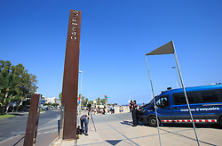 (170818) -- CAMBRILS (SPAIN), Aug. 18, 2017 (Xinhua) -- A police van is seen near the beach in Cambrils, Spain, on Aug. 18, 2017. At least 14 died in Thursday's double terror attacks in Spain, as Spanish people demonstrated defiance and condolences by leaders of the world poured in on Friday. (Xinhua/Xu Jinquan)  (Photo by Xinhua/Sipa USA)