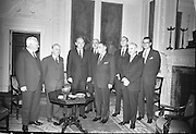 At Iveagh House are; M. McCluskey, U.S. Ambassador, Sean McEntee T.D., Minister for Health, Dean Rusk, U.S. Secretary of State, Frank Aiken T.D., Minister for External Affairs, Sean Lemass T.D., An Taoiseach, W.R. Tyler, Assistant Secretary of State, J. Robert Schaetzel, Deputy Assistant Secretary, and W.C. Armstrong, Driector's Office, British Commonwealth..16.12.1962