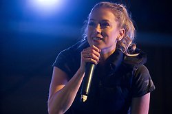 December 21, 2017 - Sevilla, Spain - Comedian Iliza Shlesinger performs during Chairmans USO Holiday Tour at Moon Air Base Dec. 21, 2017. Marine Corps Gen. Joe Dunford, chairman of the Joint Chiefs of Staff, and Army Command Sgt. Maj. John W. Troxell, senior enlisted advisor to the chairman, along with USO entertainers, visited service members who are deployed during the holidays at various locations across Europe and the Middle East. .(Credit Image: