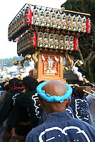 "Japanese festivals are traditional festive occasions. Some festivals have their roots in Chinese festivals but have undergone dramatic changes as they mixed with local customs.  Matsuri is the Japanese word for a festival or holiday. In Japan, festivals are usually sponsored by a local shrine or temple, though they can be secular.<br /> There is no specific matsuri days for all of Japan; dates vary from area to area, and even within a specific area, but festival days do tend to cluster around traditional holidays such as Setsubun or Obon. Almost every locale has at least one matsuri in late summer or autumn, usually related to the harvests. Matsuri almost always feature processions which include elaborate floats and ""mikoshi"" or portable shrines which are paraded around the neighborhood, and sometimes even into the ocean along the coast."