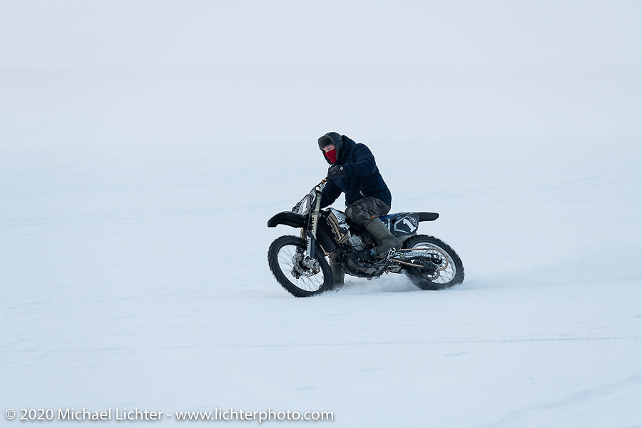 Mikhail Mikhin riding in the snow during the Baikal Mile Ice Speed Festival. Maksimiha, Siberia, Russia. Saturday, February 29, 2020. Photography ©2020 Michael Lichter.
