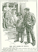 Trade Unionist telling Mr Punch that he will strike first and negotiate afterwards.  Cartoon from 'Punch', London, 5 June 1912.