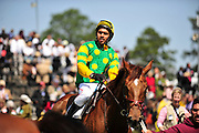 27 March 2010 : Jorge Torres wins the training flat race aboard Prince Rahy for Jonathan Sheppard.