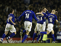 Fotball<br /> Photo. Aidan Ellis, Digitalsport<br /> NORWAY ONLY<br /> <br /> Everton v Tottenham Hotspur.<br /> FA Barclaycard Premiership.<br /> 09/04/2004.<br /> Everton's gary Naysmith celebrates his goal and teams second with team mates