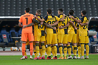 ATHENS, GREECE - OCTOBER 29: AEK Athens team prior to the UEFA Europa League Group G stage match between AEK Athens and Leicester City at Athens Olympic Stadium on October 29, 2020 in Athens, Greece. (Photo by MB Media)