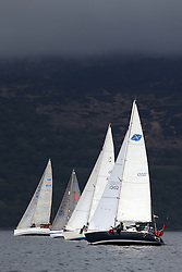 The Clyde Cruising Club's Scottish Series held on Loch Fyne by Tarbert. .Day 3 racing initially postponed awaiting  a light southerly...CYCA Fleets head to the Kintyre shore with  1302C, Lyrebird, Clive Reeves,