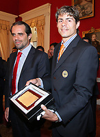 20090528: FUNCHAL, PORTUGAL Ð Nacional Madeira striker Nene receives the Golden Ball, after scoring 20 goals on the Portuguese League 2008/2009. Nene is being followed by SL Benfica, FC Porto, Arsenal, Lyon, AS Roma and Hamburg, among other teams. In picture: Miguel Albuquerque (Camara Municipal do Funchal president) and Nene. <br />PHOTO: Octavio Passos/CITYFILES