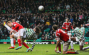 16.03.2013 Glasgow, Scotland.  Georgios Samaras scores an overhead kick to win the match for Celtic   during the Clydesdale Bank Premier League match between, Celtic and Aberdeen, from Celtic Park Stadium.