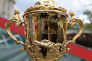 a Close up photograph of the Webb Ellis Trophy. RWC 2015, Coca Cola London Eye launch for the Rugby World cup event  in London on Tuesday 15th Sept  2015.<br /> pic by John Patrick Fletcher, Andrew Orchard sports photography.