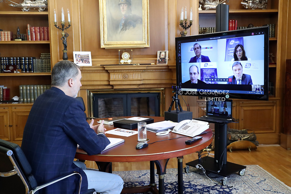 King Felipe VI of Spain attends a videoconference with the representatives of the logistics sector at Zarzuela Palace on May 22, 2020 in Madrid, Spain