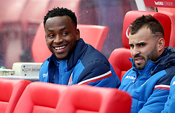 Stoke City's Saido Berahino (left) on the bench before the match begins