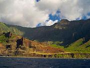 View of Kalalau Valley on the stunning Na Pali Coast on the western side of Kauai, Hawaii, USA.