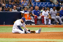 July 21, 2017 - St. Petersburg, Florida, U.S. - WILL VRAGOVIC   |   Times.Tampa Bay Rays third baseman Evan Longoria (3) takes a moment after the go ahead run scored on the single by Texas Rangers shortstop Elvis Andrus (1) in the tenth inningof the game between the Texas Rangers and the Tampa Bay Rays at Tropicana Field in St. Petersburg, Fla. on Friday, July 21, 2017. The Texas Rangers beat the Tampa Bay Rays 4-3. (Credit Image: © Will Vragovic/Tampa Bay Times via ZUMA Wire)
