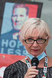 London, UK. 20th July, 2021. Sheila Day, former Hove Labour councillor, addresses supporters of left-wing Labour Party groups at a protest lobby outside the party's headquarters. The lobby was organised to coincide with a Labour Party National Executive Committee meeting during which it was asked to proscribe four organisations, Resist, Labour Against the Witchhunt, Labour In Exile and Socialist Appeal, members of which could then be automatically expelled from the Labour Party.