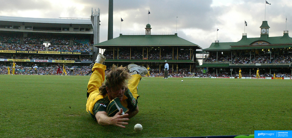 Ian Harvey fails to stop a boundary as he slides into the boundary rope during a one day International at the Sydney Cricket Ground, Sydney, Australia.