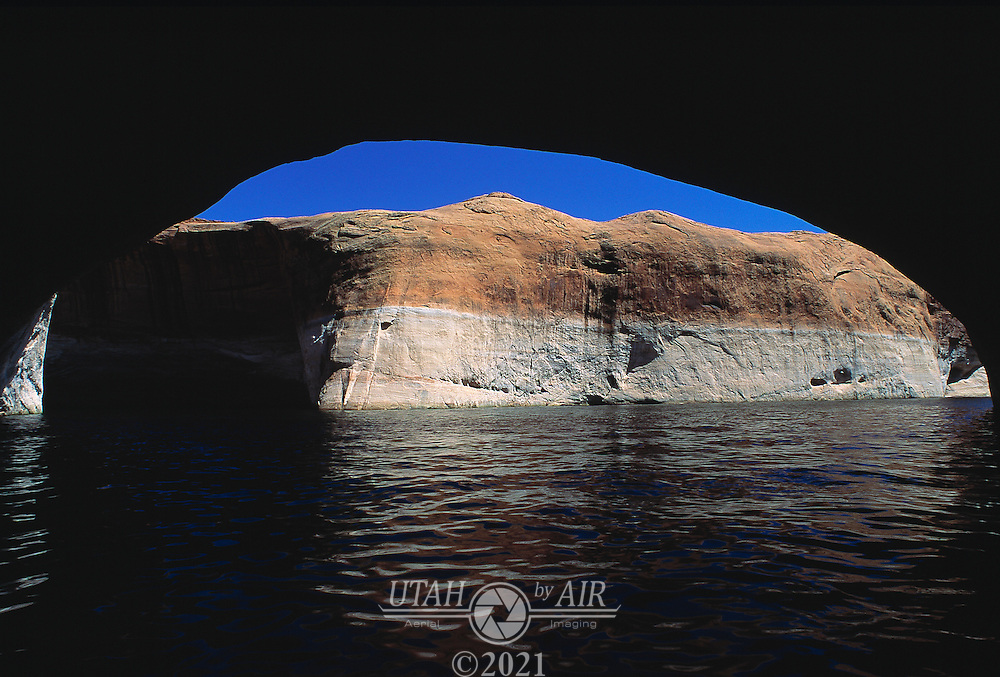 Under a natural cave on Lake Powell, Utah