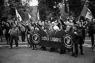 A fascit group called 'Ultima legione' , last legion performing a fascit salute at the entrance of the cemetery where Benito Mussolini is burried. About 2000 fascists gathered in Predappio, Italy to commemorate the annivrsary of the 'Marcia su Roma' A march held on October 28th 1922 and marked the start of the Italian fascist era .Federico Scoppa
