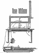 Morse's first telegraph (1837) Wood engraving c1900