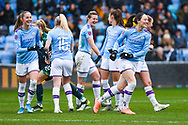 Manchester City Women defender Megan Campbell (5) joins the second half team huddle during the FA Women's Super League match between Manchester City Women and West Ham United Women at the Sport City Academy Stadium, Manchester, United Kingdom on 17 November 2019.
