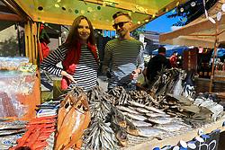 September 30, 2018 - Zaporizhzhia, Ukraine - Vendors sell dried fish during the Beluga Beer Fest in Zaporizhzhia, southeastern Ukraine, September 30, 2018. Ukrinform. (Credit Image: © Dmytro Smolyenko/Ukrinform via ZUMA Wire)