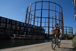© Licensed to London News Pictures.  24/09/2021. London, UK. A general view of Marian Place gas storage site in Bethnal Green, built in 1860 has stored and distributed gas to thousands of homes across east London. As the wholesale price of gas continues to rise, leading to empty shelves in supermarkets and price rises for millions of homeowners in the coming winter months. Photo credit: Marcin Nowak/LNP