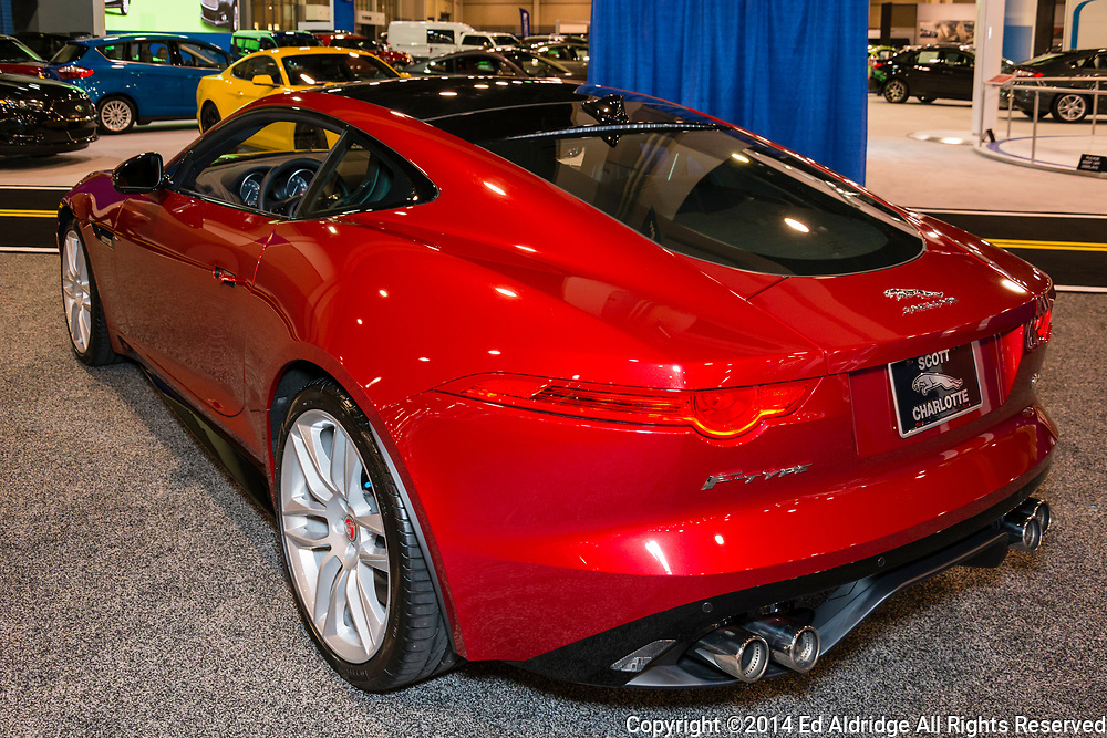 CHARLOTTE, NORTH CAROLINA - NOVEMBER 20, 2014: Jaguar F-Type R coupe on display during the 2014 Charlotte International Auto Show at the Charlotte Convention Center.