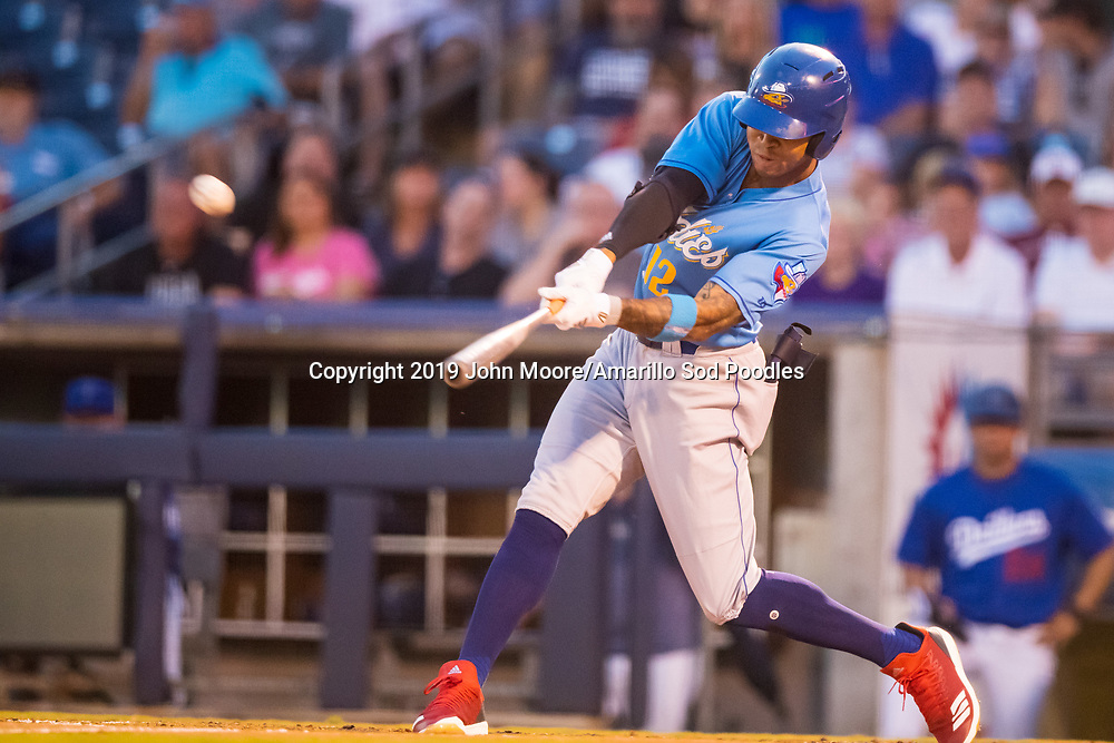 Amarillo Sod Poodles outfielder Buddy Reed (12) hits a home run against the Tulsa Drillers during the Texas League Championship on Saturday, Sept. 14, 2019, at OneOK Field in Tulsa, Oklahoma. [Photo by John Moore/Amarillo Sod Poodles]