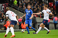 Italy Midfielder Marco Parolo (18) and England Midfielder Eric Dier (8) in action during the Friendly match between England and Italy at Wembley Stadium, London, England on 27 March 2018. Picture by Stephen Wright.