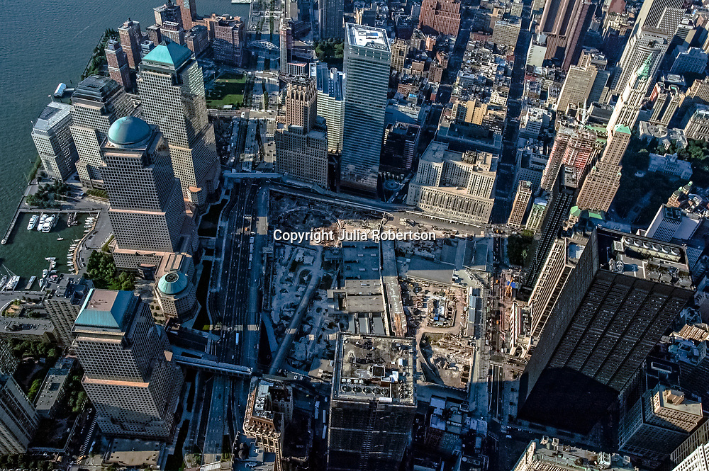 Aerial view of World Trade Center, Ground Zero in NYC, site of September 11, 2001 terrorist attack