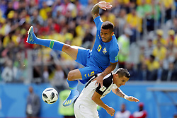 June 22, 2018 - St. Petersburg, Russia - GABRIEL JESUS of Brazil (L) and DAVID GUZMAN   of Costa Rica in action during the 2018 FIFA World Cup Russia group E match between Brazil and Costa Rica at the Saint Petersburg Stadium in Saint Petersburg, Russia. (Credit Image: © Brazil V Costa Rica/Hollandse-Hoogte via ZUMA Press)