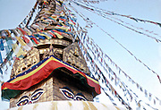The Great Boudhanath buddhist stupa and prayer flags in Bouddha, Nepal.
