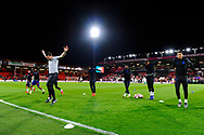 England U21 substitutes warming up before the U21 International match between England and Germany at the Vitality Stadium, Bournemouth, England on 26 March 2019.