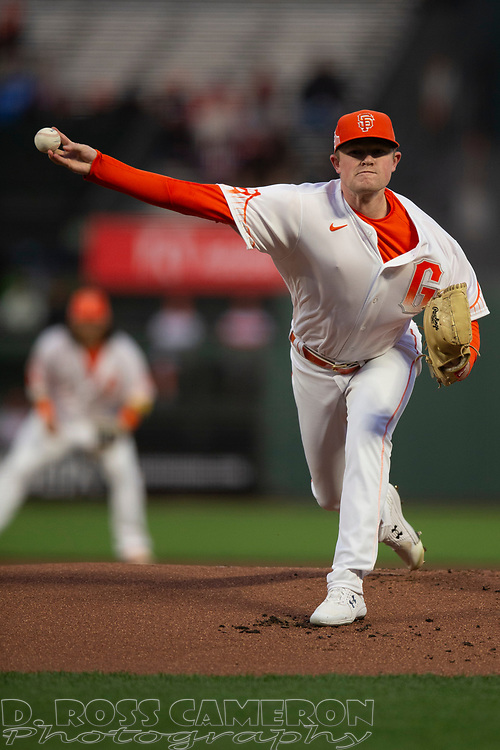 San Francisco Giants starting pitcher Logan Webb (62) delivers a pitch against the Arizona Diamondbacks during the first inning of a baseball game, Tuesday, Sept. 28, 2021, in San Francisco. (AP Photo/D. Ross Cameron)