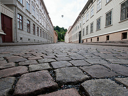 View of cobbled streets in historic Haga district of Gothenburg in Sweden