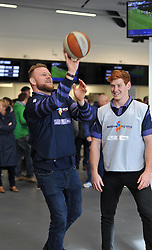 Joe Joyce and Jack Tovey of Bristol Rugby taking part in pre-match activities in support of older supporters - Mandatory by-line: Paul Knight/JMP - 22/10/2017 - RUGBY - Ashton Gate Stadium - Bristol, England - Bristol Rugby v Doncaster Knights - B&I Cup