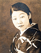 head and shoulders image of a joung woman Japan ca 1940s
