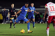 AFC Wimbledon striker Jake Jervis (10) with a shot on goal during the EFL Trophy group stage match between AFC Wimbledon and Stevenage at the Cherry Red Records Stadium, Kingston, England on 6 November 2018.