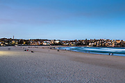 Bondi Beach early evening taken with a slow shutter speed to show movement on the ocean, Sydney, Australia.