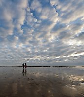 Strolling along the beach on a winters day.