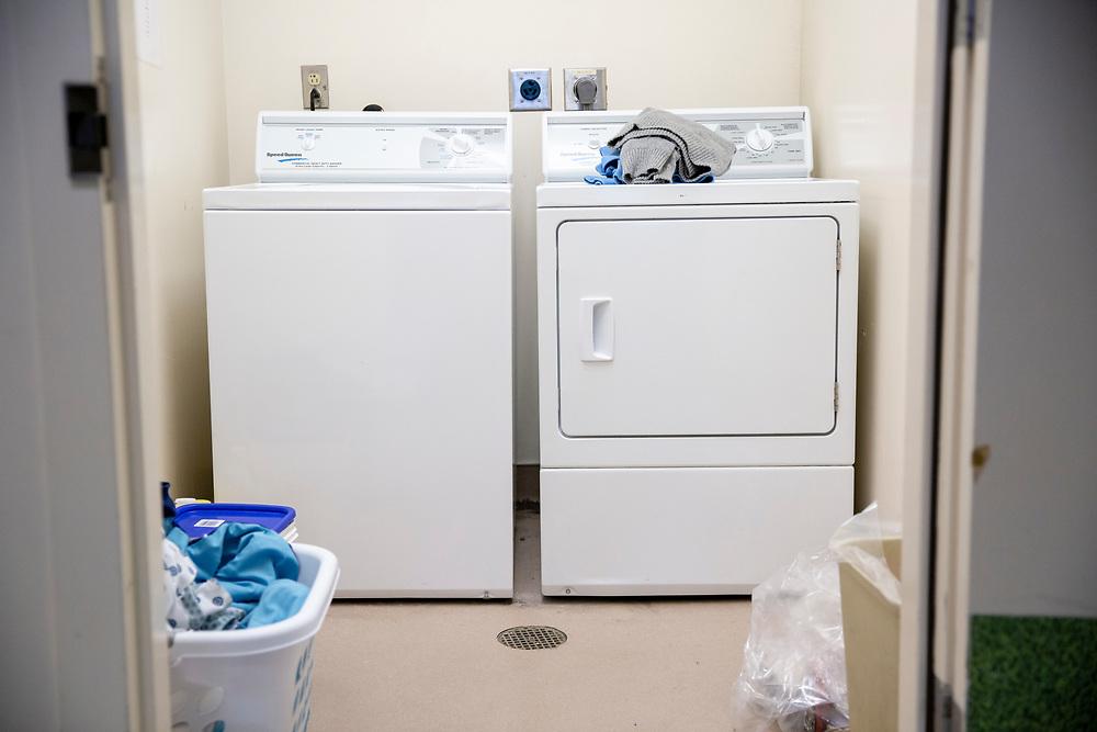 The laundry room at the Hummingbird Psychiatric Respite Navigation Center at San Francisco General Hospital on Thursday, Feb. 7, 2019, in San Francisco, Calif.