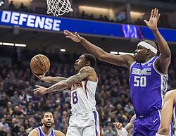 December 29, 2017 - Sacramento, CA, USA - The Phoenix Suns' Tyler Ulis (8) Tyler Ulis (8) scores a basket against the Sacramento Kings' Zach Randolph (50) on Friday, Dec. 29, 2017, at the Golden 1 Center in Sacramento, Calif. (Credit Image: © Hector Amezcua/TNS via ZUMA Wire)