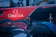 """Grant Dalton, Emirates Team New Zealand CEO talks to Team and guests at the christening of """"Te Aihe"""", the team's first AC75. Viaduct Harbour, Auckland, New Zealand."""