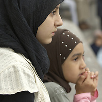Young muslim girls wearing hijab, Eid in the Square, London, England<br />