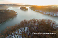 63877-01502 Aerial view of lake Stephen A. Forbes State Park Marion Co. IL