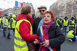 Esther Benbassa during the act 12 of yellow vests protest at the place Feix Eboue in Paris, France, on February 02, 2019. Photo by Serge Tenani/Avenir Pictures/ABACAPRESS.COM