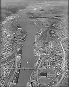 """""""Dock Commission. Aerials of Portland. March 2, 1965"""" (Vertical aerial of Harbor from Steel bridge to north)"""