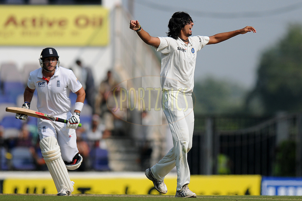 Ishant Sharma of India celebrates the wicket of  Tim Bresnan of England during day two of the 4th Airtel Test Match between India and England held at VCA ground in Nagpur on the 14th December 2012..Photo by  Pal Pillai/BCCI/SPORTZPICS .